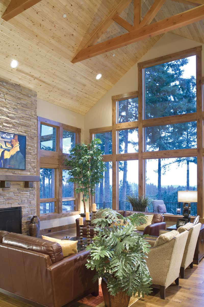 Luxury House Plan Great Room Photo 06 - Cliffwood Trail Lodge Home 011S-0001 | House Plans and More
