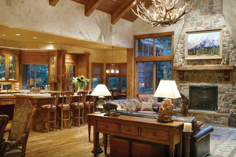 Luxury House Plan Living Room Photo 01 - Cliffwood Trail Lodge Home 011S-0001 | House Plans and More