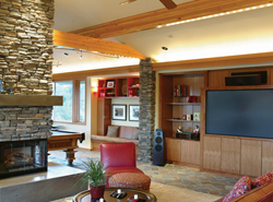 open and rustic living room