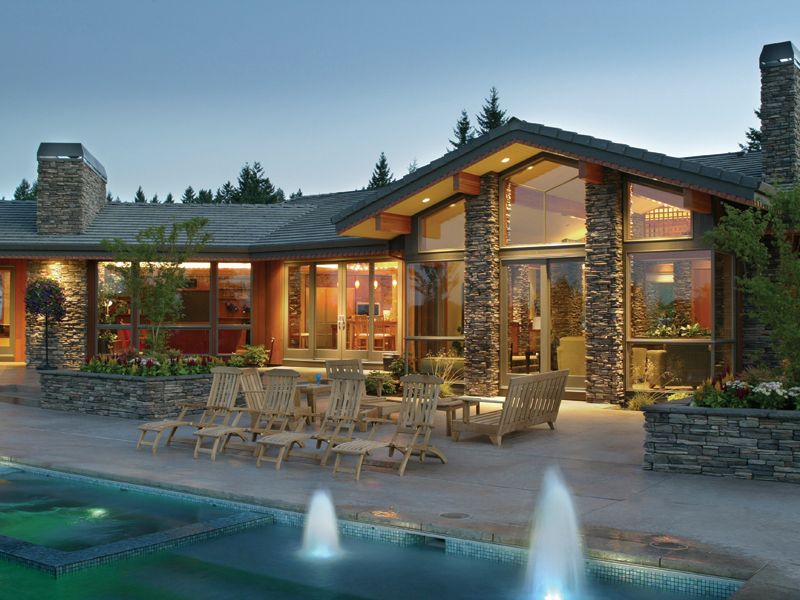 Luxury House Plan Rear Entry Photo - Crane Grove Ranch Home 011S-0003 | House Plans and More