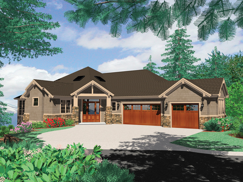 Lake House Plan Front Image - Juntara Craftsman Shingle Home 011S-0017 | House Plans and More
