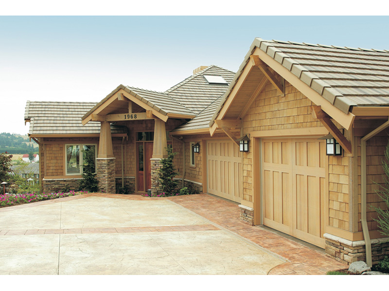 Lake House Plan Garage Photo - Juntara Craftsman Shingle Home 011S-0017 | House Plans and More