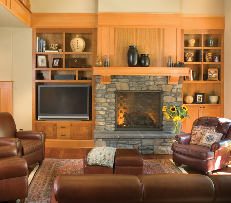 Arts & Crafts House Plan Living Room Photo 01 - Yukon Harbor Vacation Home 011S-0066   House Plans and More