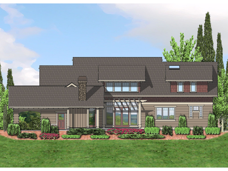 Arts & Crafts House Plan Color Image of House - Yukon Harbor Vacation Home 011S-0066   House Plans and More