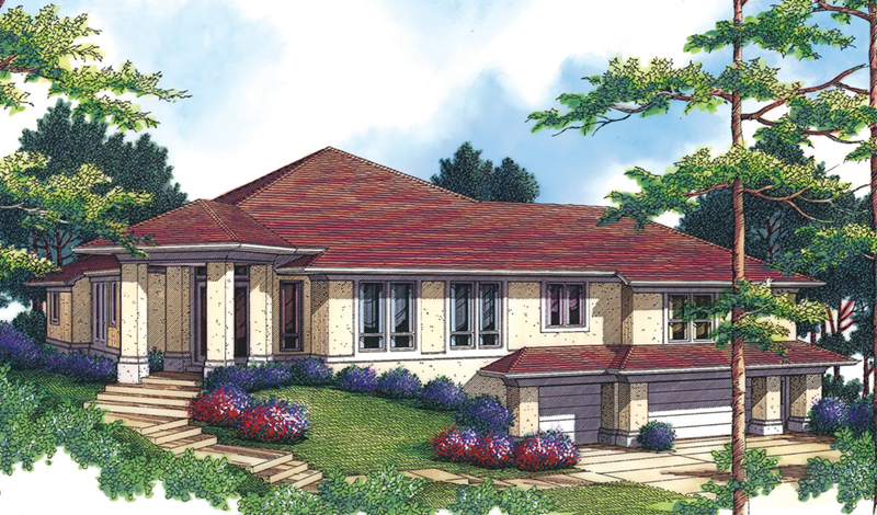 Modern House Plan Front of Home -  011S-0068 | House Plans and More