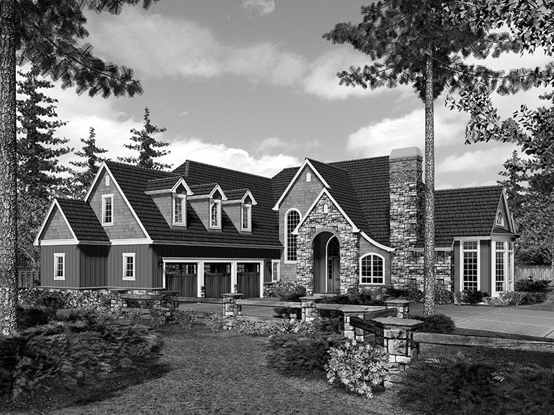 Country French House Plan Front Image of House -  011S-0080 | House Plans and More