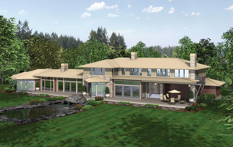 Rustic Home Plan Color Image of House - Demarco Luxury Prairie Home 011S-0085 | House Plans and More