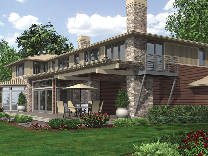 Rustic Home Plan Rear Photo 02 - Demarco Luxury Prairie Home 011S-0085 | House Plans and More
