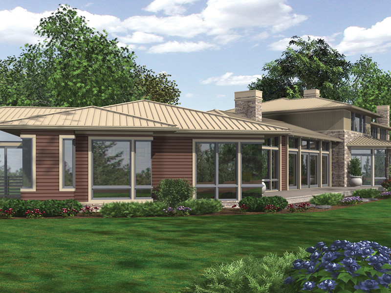 Rustic Home Plan Rear Photo 04 - Demarco Luxury Prairie Home 011S-0085 | House Plans and More