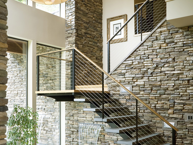 Rustic Home Plan Stairs Photo - Demarco Luxury Prairie Home 011S-0085 | House Plans and More