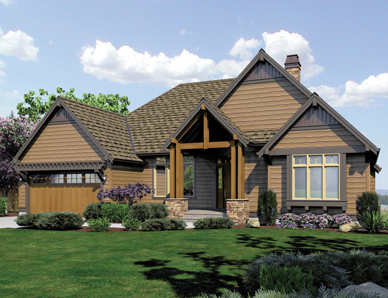 Rustic Home Plan Front of Home -  011S-0102 | House Plans and More