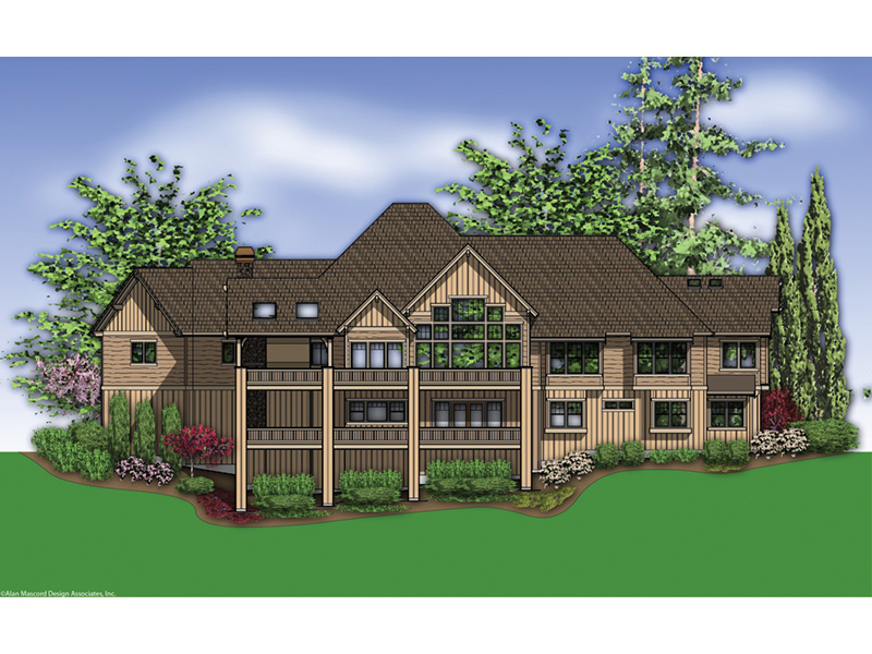 Ranch House Plan Rear Photo 01 - Knotty Pine Luxury Home 011S-0112 | House Plans and More