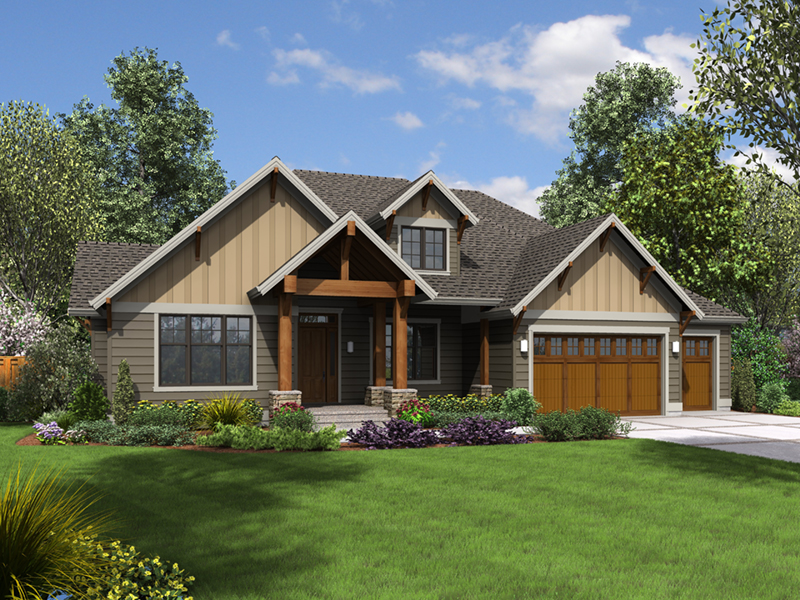 Ranch House Plan Front of Home - Morrow Oak Luxury Home 011S-0115 | House Plans and More