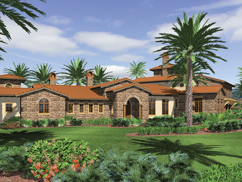 Mediterranean House Plan Front of Home -  011S-0166 | House Plans and More