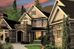 European House Plan Front Night Photo -  011S-0172 | House Plans and More