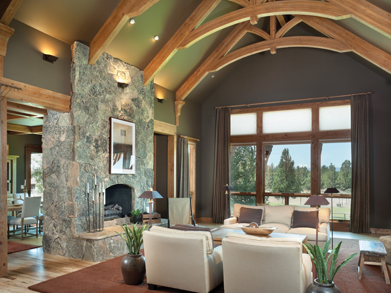 Rustic Home Plan Great Room Photo 01 - Montelle Hill Luxury Home Plans with Two Master Suites