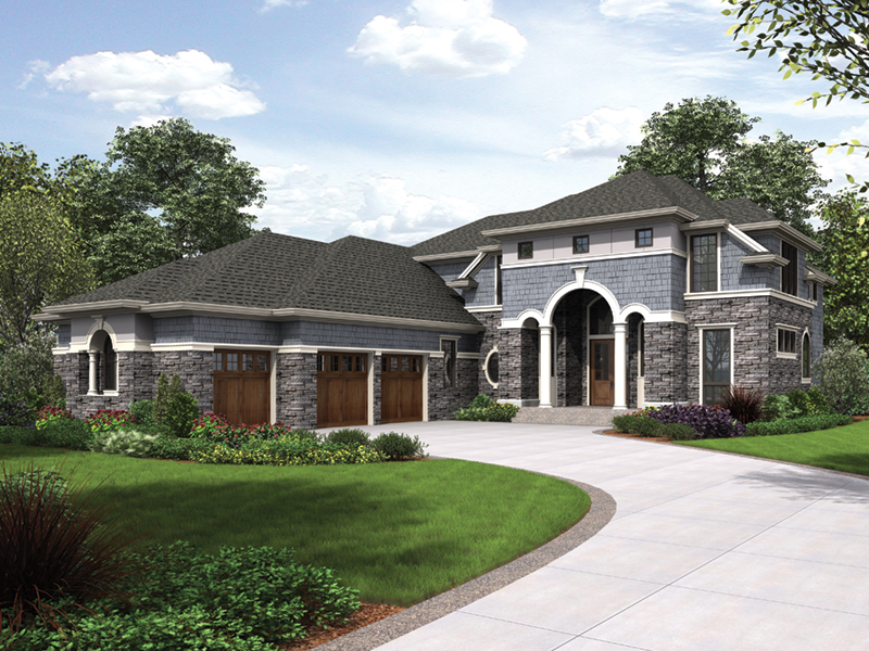 Shingle House Plan Front of Home - Rainier Bay Luxury Home 011S-0195 | House Plans and More