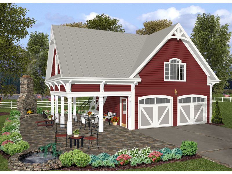 Apartment Garage Plan With Many Craftsman Details And Side Cover Porch