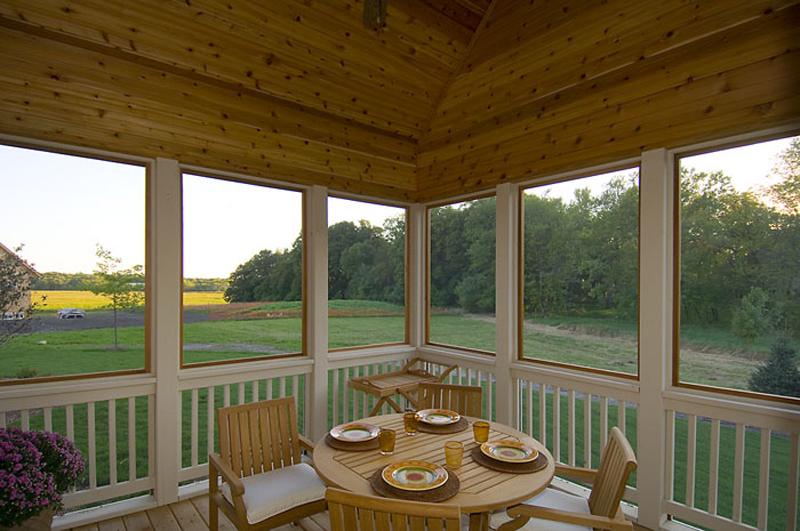 Tudor House Plan Screened Porch Photo