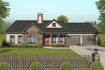 Craftsman House Plan Front of Home - Koch Creek Country Home 013D-0198 | House Plans and More