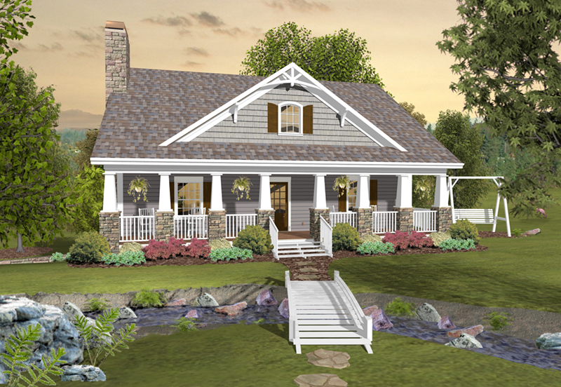 Traditional House Plan Front of Home - Eunice Farm Country Home 013D-0199 | House Plans and More
