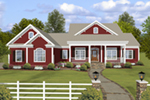 Ranch House Plan Front of Home - Cricket Creek Country Home 013D-0201 | House Plans and More