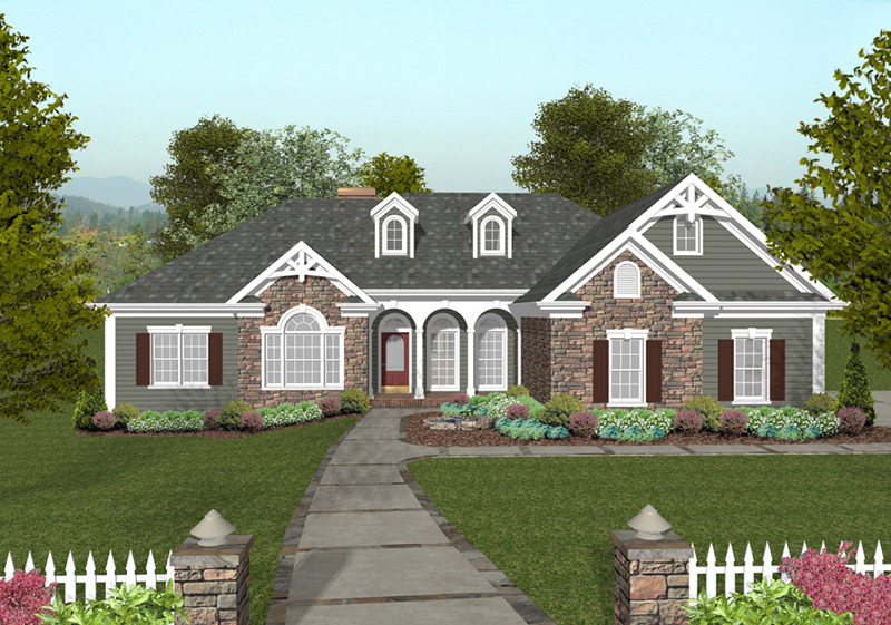 Ranch House Plan Front of Home - Dewberry Falls Ranch Home 013D-0202 | House Plans and More