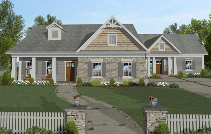 Arts & Crafts House Plan Front of Home -  013D-0204 | House Plans and More
