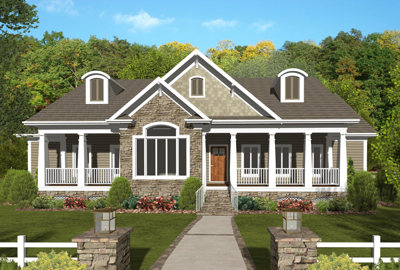 Arts & Crafts House Plan Front of Home - Dansby Country Ranch Home 013D-0206   House Plans and More