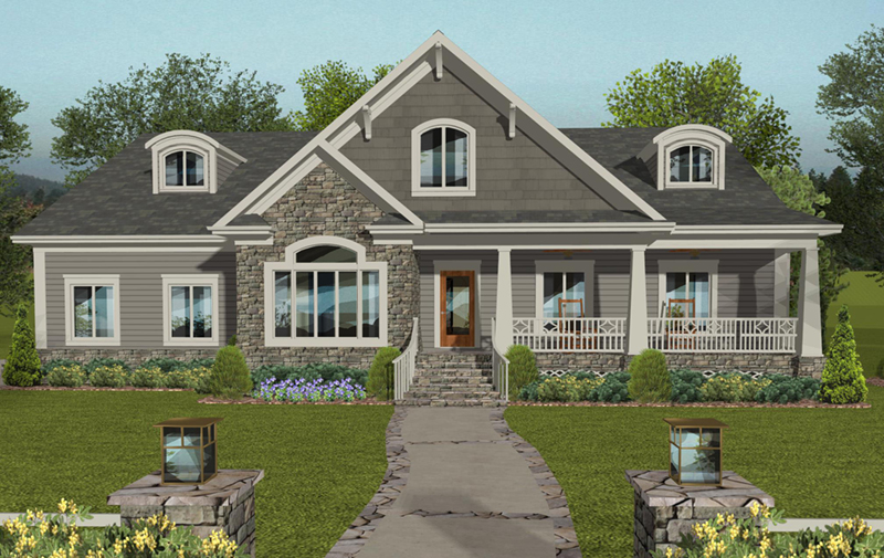 Craftsman House Plan Front of Home -  013D-0212 | House Plans and More