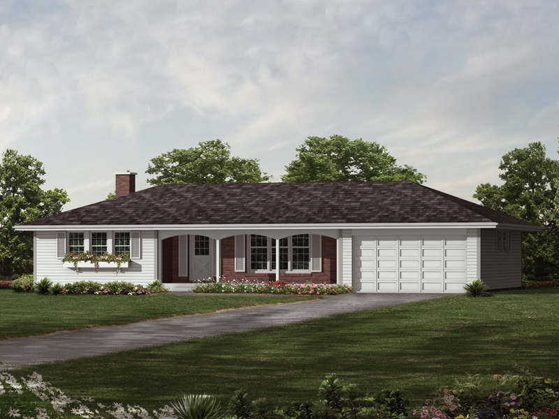 Elmsdale Ranch Home Plan 017D-0004 | House Plans and More on gazebo building plans for hip roofs, ranch house with gable roof, ranch house plans with hipped roofs, ranch house additions with hip roof, ranch homes with hip roofs, ranch house plans 1955, ranch house addition over garage,