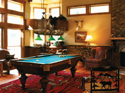 spacious billiard room