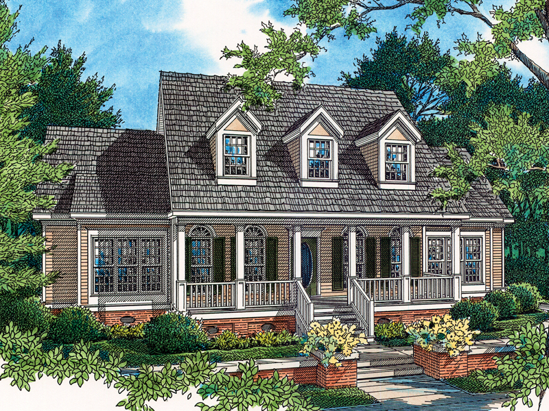 Country Style Home With Charming Covered Front Porch And A Trio Of Dormers