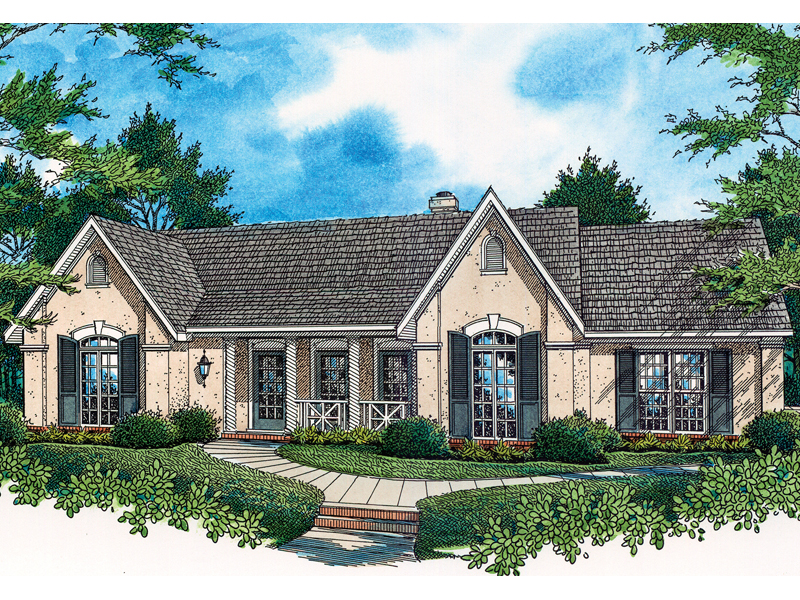 Stucco Ranch Home With European Shutters And Covered Porch