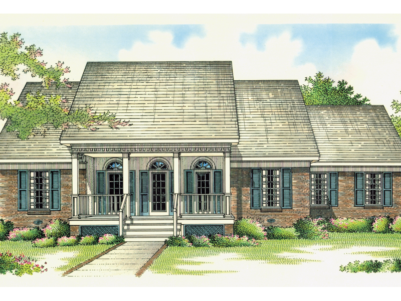 Beautiful Arched Windows And Inviting Porch
