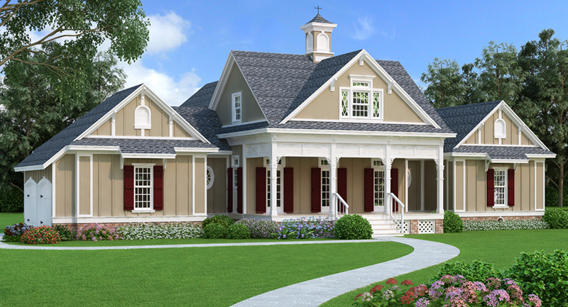 Craftsman House Plan Front of Home - Layton Country Craftsman Home 020D-0344 | House Plans and More