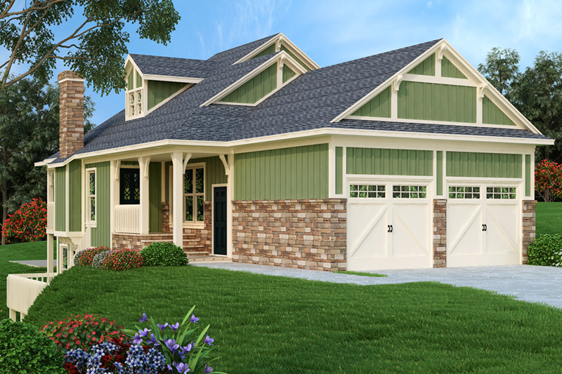 Craftsman House Plan Front of Home - Simeon Tudor Home 020D-0350 | House Plans and More
