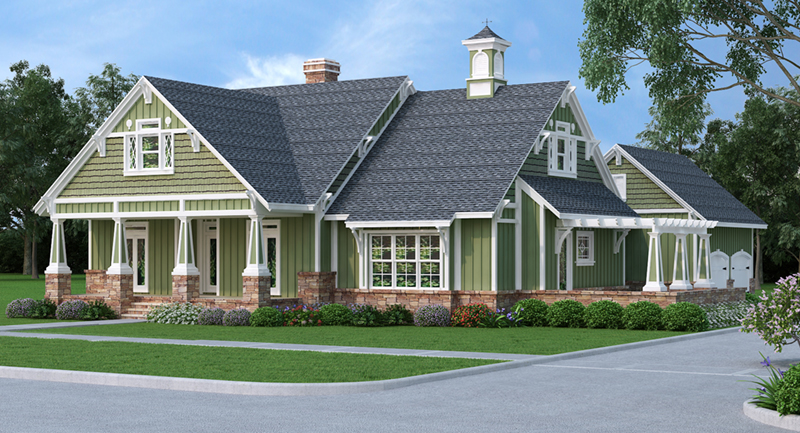 Ranch House Plan Front Image - Grace Hill Craftsman Home 020D-0365 | House Plans and More