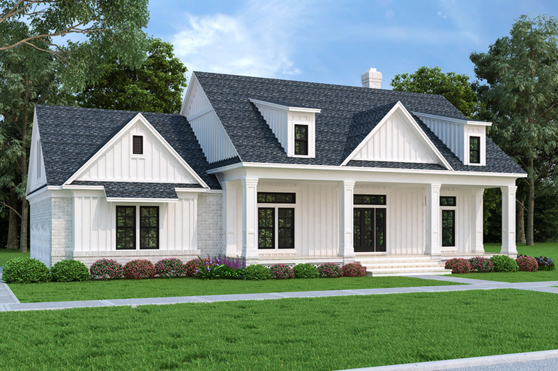 Modern Farmhouse Plan Front of Home - 020D-0399 | House Plans and More