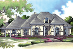 Prominent Columns Grace This Luxury Stucco Home Design