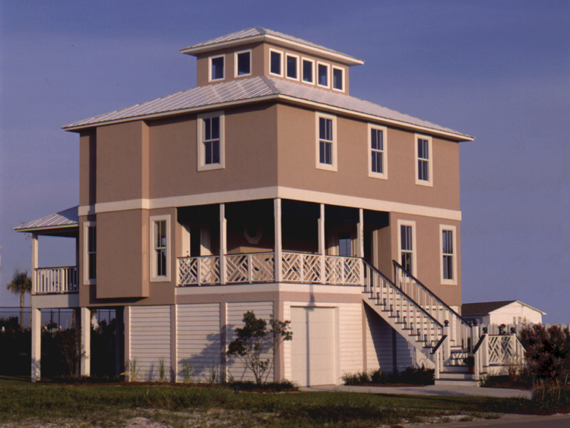 Designed For A Beach/Coastal Area With A Third Floor Lookout Area