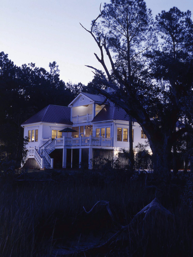 Beach & Coastal House Plan Rear Night Photo - Highcroft Manor Luxury Home 024S-0037 | House Plans and More