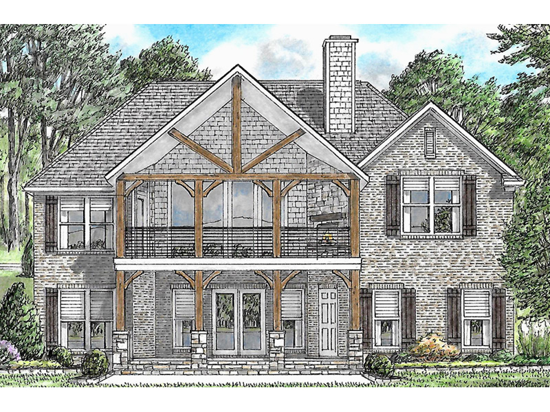 Arts & Crafts House Plan Rear Photo 01 -  025D-0107 | House Plans and More