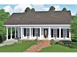 front color rendering of ranch home with carport