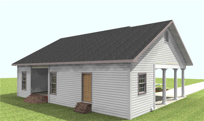 Cabin & Cottage House Plan Side View Photo 02 - Cedar Run Southern Style Home 028D-0059 | House Plans and More