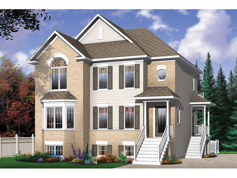 Geary Place Triplex Townhouse Plan 032D-0383 | House Plans ...