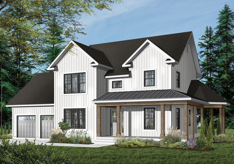 . DeRosa Two Story Farmhouse Plan 032D 0502   House Plans and More