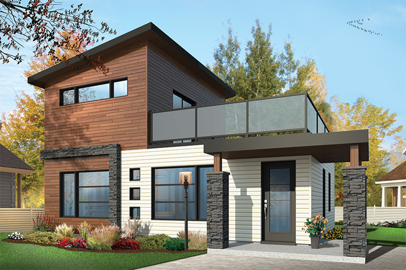Modern House Plan Front of Home - Sundari Contemporary Home 032D-0809 | House Plans and More