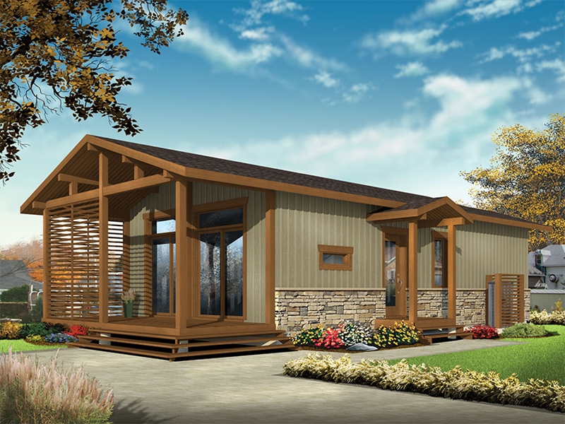 Vacation House Plan Front of Home - Tranquil Haven Craftsman Cabin 032D-0811 | House Plans and More