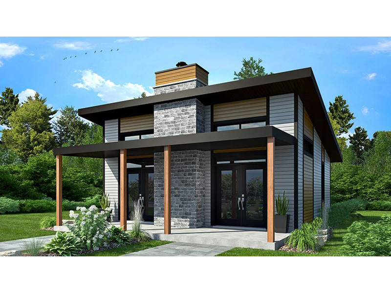 Vacation House Plan Front Photo 03 - Yelton Modern Home 032D-0813 | House Plans and More